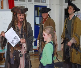 "Captain Jack Sparrow visits ""budding young pirates"""