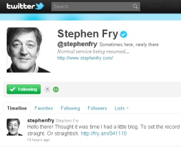 Stephen Fry's back. Obviously.