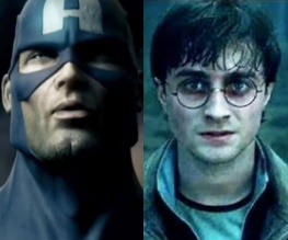 Captain America lobs his big silly shield at Harry Potter