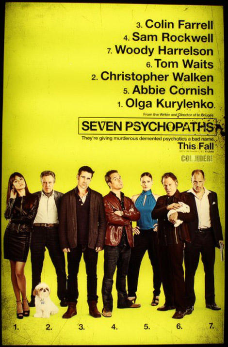 First poster for Martin McDonagh's Seven Psychopaths