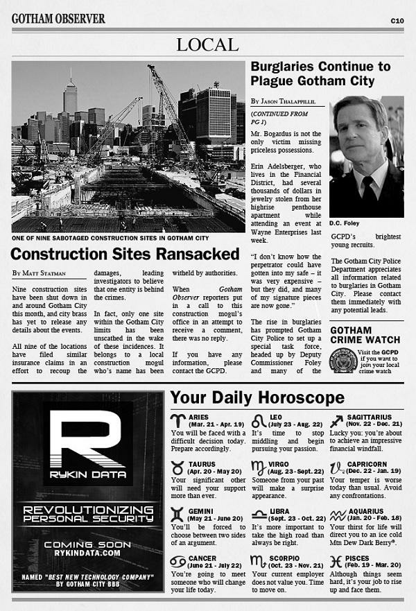 Dark Knight Rises viral campaign continues with Gotham newspaper