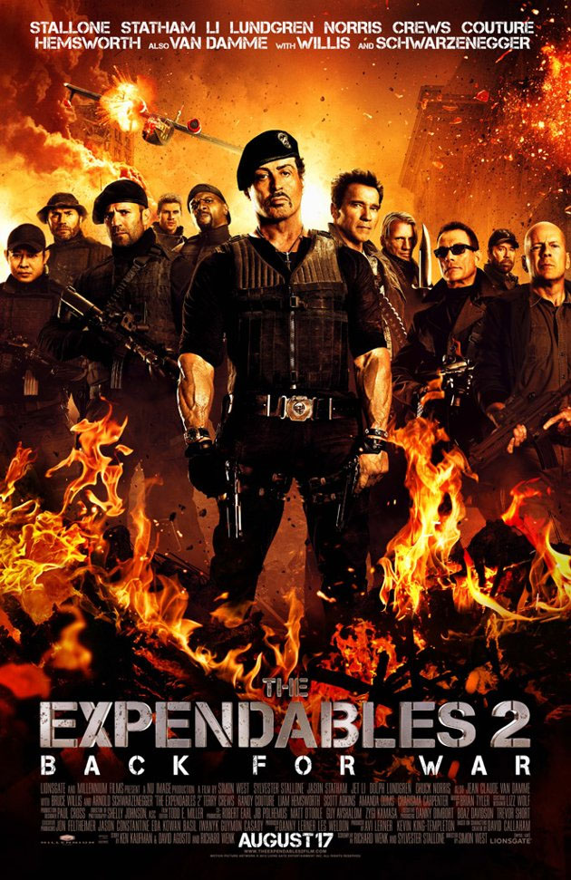 New poster for The Expendables 2 is flamey