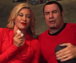 John Travolta and Olivia Newton-John on Xmas rampage