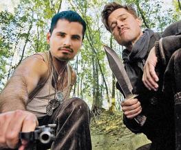 Brad Pitt and Michael Peña share in the Fury